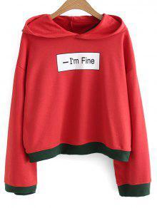 Logotipo Frontal Com Capuz Oversized Two Tone - Vermelho