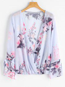 Floral Sheer Wrap Top - Floral S