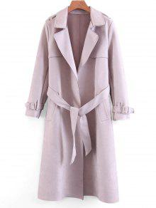 Buy Belted Faux Suede Skirted Trench Coat - PINK S
