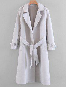 Belted Faux Suede Skirted Trench Coat - Cinza Claro S