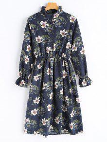 Vestido Floral De Manga Comprida Com Cordão - Azul Arroxeado S