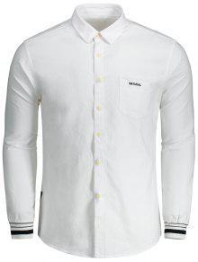 Chemise Boutonnée à Lettre Brodée - Blanc 2xl