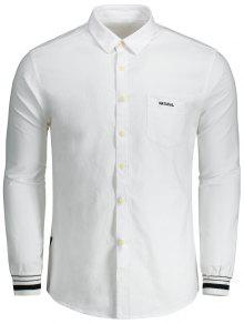 De 3xl Con Carta De Mosca Bot Camisa Blanco Con Bordado 243;n vWn1YYa