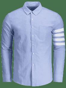 Empalma Que Largas Azur De 3xl Raya Las De La Mangas Camisa SUCPwqP