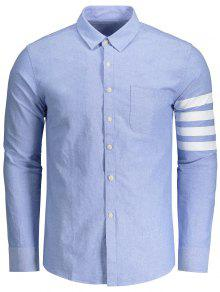 Long Sleeves Streifen Spleißen Shirt - Azurblau  3xl