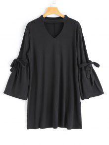 Vestido Gargantilla De Manga Larga - Negro S