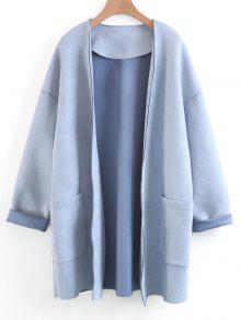 Manteau Ouvert En Faux Suède - Bleu Clair S