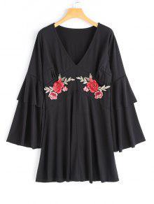 Flower Applique Vestido De Luva De Sino - Preto S