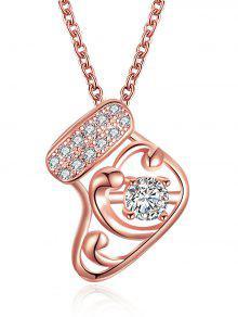 Collar De Gota De Diamantes Con Calcetín De Navidad - Dorado
