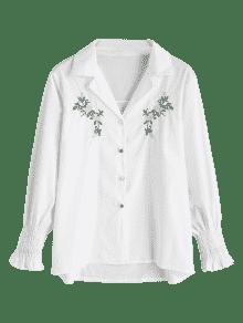 S Blanco De Flor Smocked Camisa Bordada wq4BxO