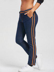 Contrast Trim Straight Jeans And Belt - Azul Xl