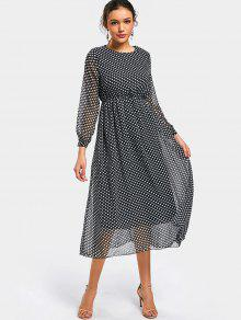 البولكا نقطة طويلة الأكمام فستان الشيفون - نقطة نمط Xl