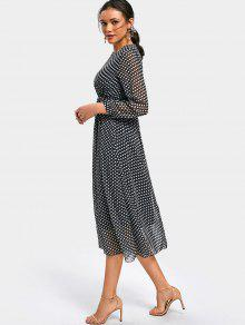 9d651b1ce1b 25% OFF  2019 Polka Dot Long Sleeve Chiffon Dress In DOT PATTERN