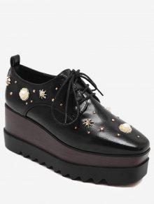 حذاء من الجلد المزيف ذو كعب من الإسفين ورباط مزين باللؤلؤ المزيف - أسود 38
