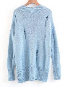 Oversized Destroyed V Neck Sweater LIGHT BLUE: Sweaters M | ZAFUL