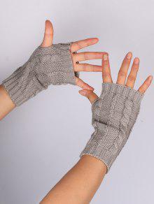 Hollow Out Embellished Knitted Exposed Finger Gloves Light Gray