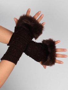 Buy Soft Fur Winter Crochet Knitted Fingerless Gloves - COFFEE