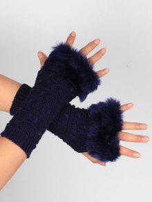 Buy Soft Fur Winter Crochet Knitted Fingerless Gloves - PURPLISH BLUE