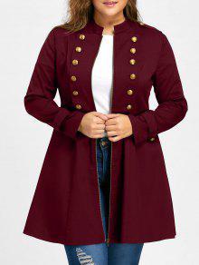 زائد الحجم مزدوجة الصدر مضيئة معطف - نبيذ أحمر Xl