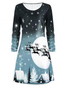Robe Imprimée Cerf De Noël à Manches Longues - Vert Cendré S