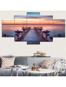 جدار الفن الغروب الخشب جسر قماش لوحات - 1pc: 8 * 20،2pcs: 8 * 12،2pcs: 8 * 16 بوصة (بدون إطار)