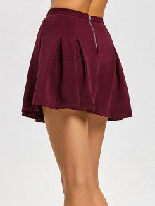 4586596d44 36% OFF] 2019 High Waist Pleated Mini Flare Skirt In DEEP RED ...