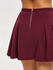 939e801ba4 36% OFF] 2019 High Waist Pleated Mini Flare Skirt In DEEP RED | ZAFUL