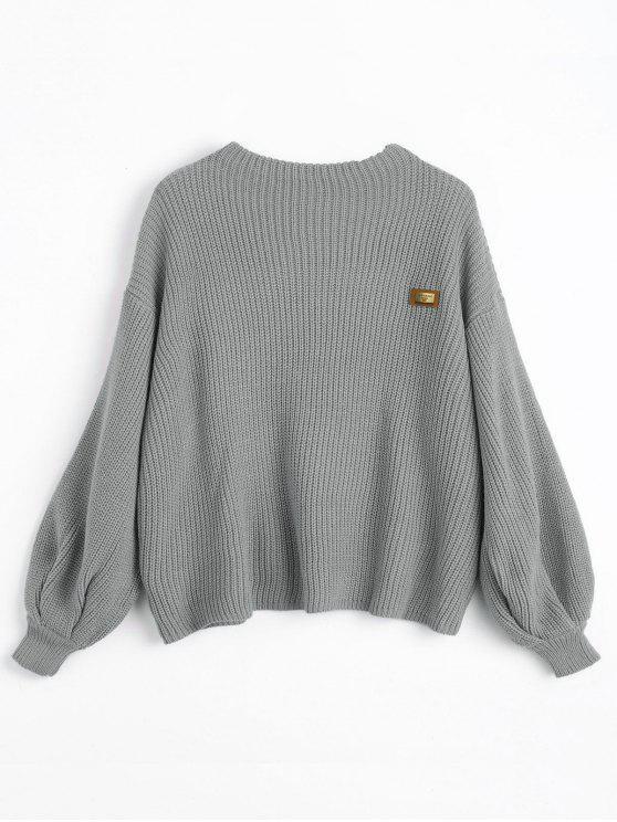 Maglione Pullover Plus Size Di Chevron Con Patch - Grigio Una Taglia