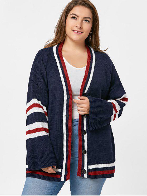 Botão Plus Size Up Stripy Tunic Cardigan - Azul Arroxeado Tamanho único