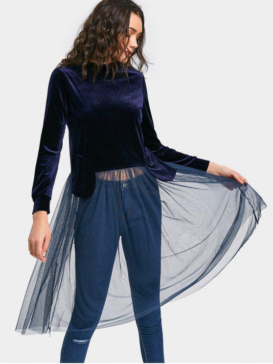 women Stand Neck Mesh Hem Velvet Sweatshirt - PURPLISH BLUE S