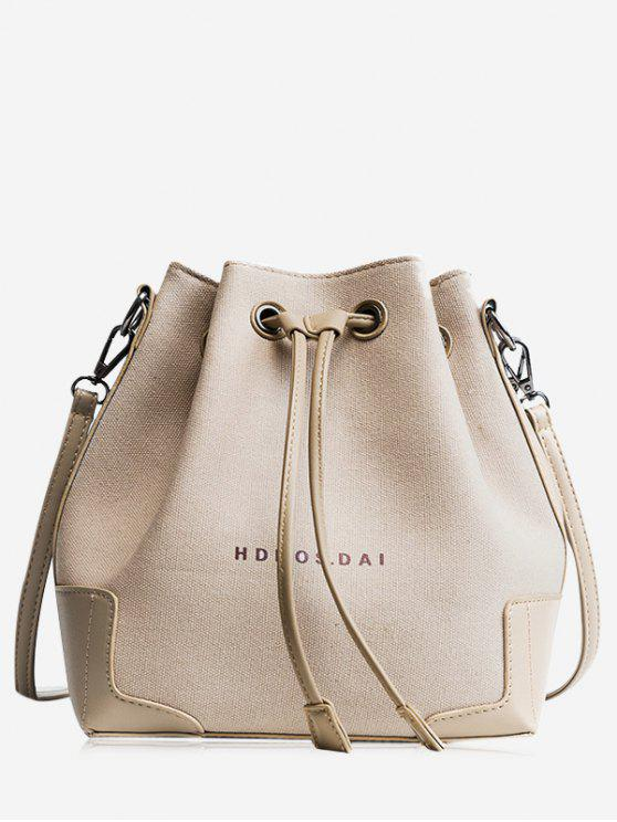 online Canvas Drawstring Letter Crossbody Bag - KHAKI