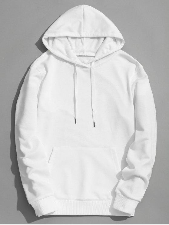 cf7c5ce4980369 46% OFF  2019 Kangaroo Pocket Plain Hoodie In WHITE