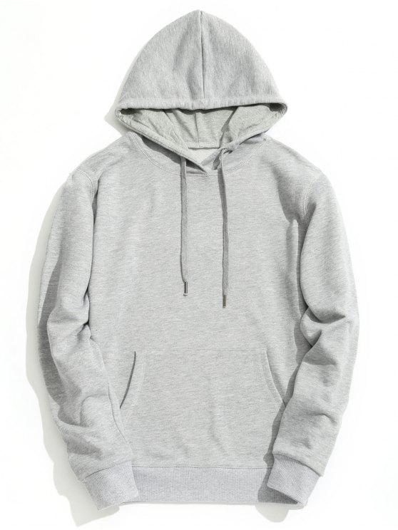 dcb037462ae 60% OFF  2019 Kangaroo Pocket Plain Hoodie In GRAY