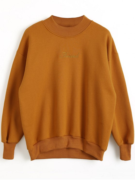ladies Mock Neck Letter Embroidered Sweatshirt - ORANGE YELLOW S