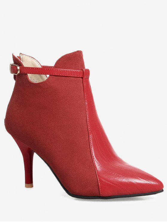 womens Buckle Strap Pointed Toe Ankle Boots - RED 38