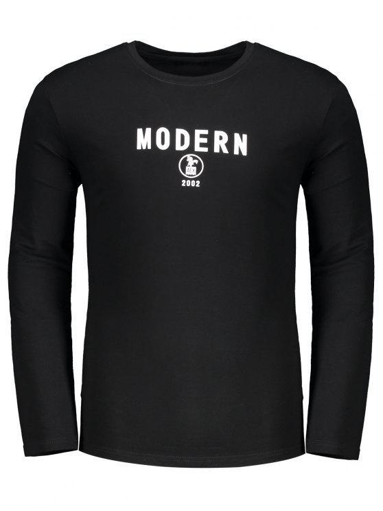 T-shirt Imprimé Lettre Ras du Cou - Noir M