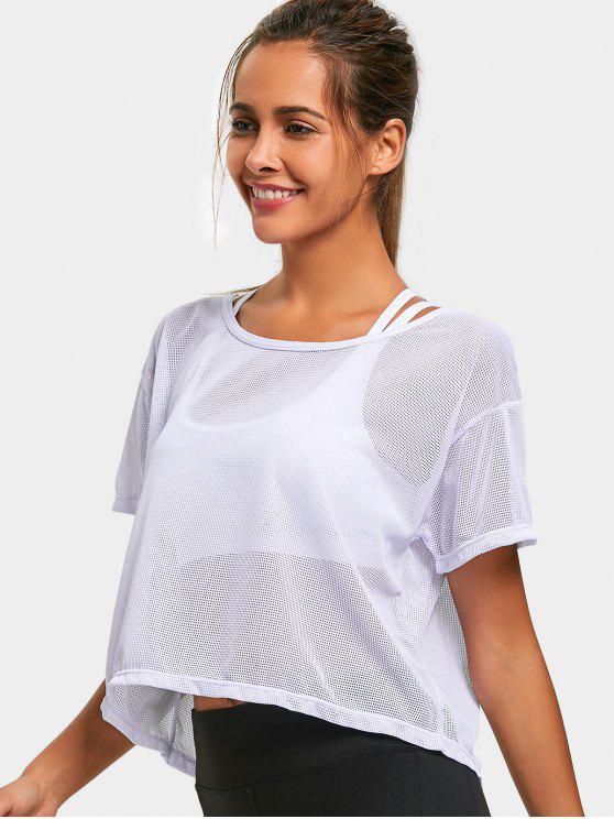 fashion Short Sleeve Mesh Sports Top - WHITE S