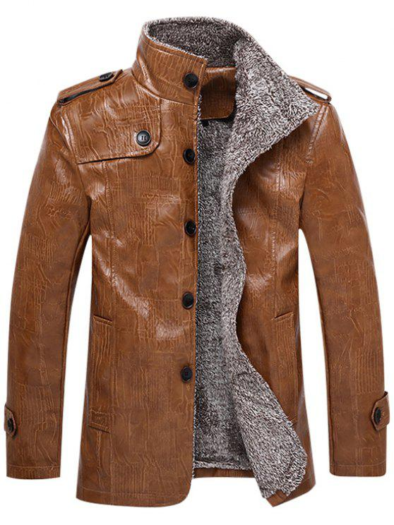Faux Leather Plush Lining Jacket LIGHT BROWN: Jackets & Coats XL ...