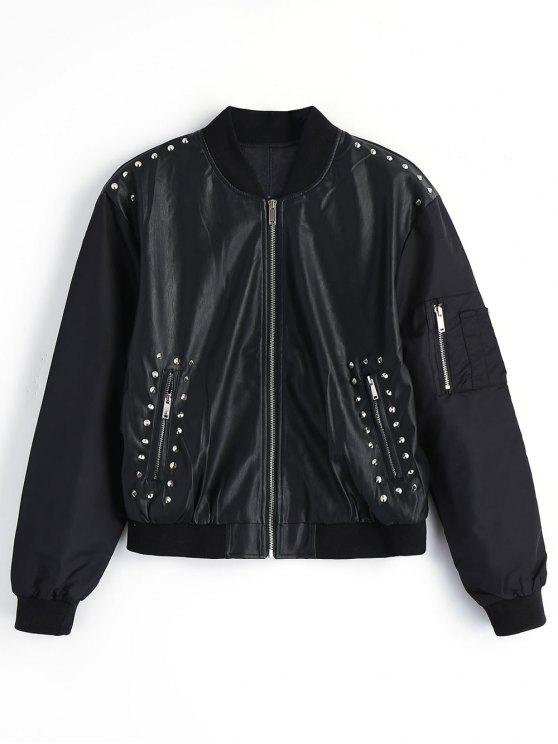 outfit Embroidered Rivet Faux Leather Jacket - BLACK S
