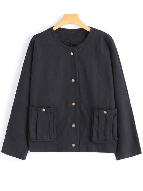 Und Black Jacke Einfache Taschen Druckknopf Mit u1cTJKlF35