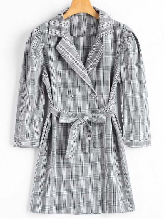 latest Lapel Belted Checked Coat with Pockets - CHECKED ONE SIZE