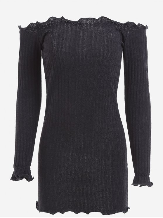 unique Off Shoulder Mini Knitted Bodycon Dress - BLACK M