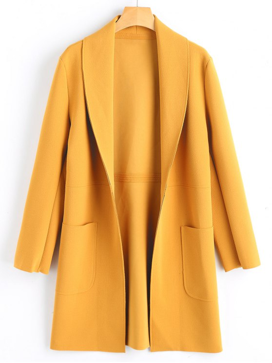 ladies Shawl Collar Open Front Coat with Pockets - MUSTARD S