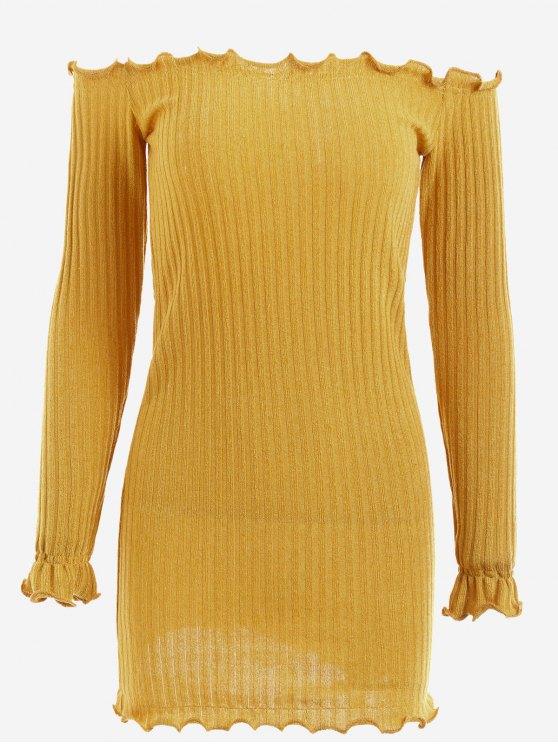 Vestido de malha com ombro - Amarelo Gengibre L
