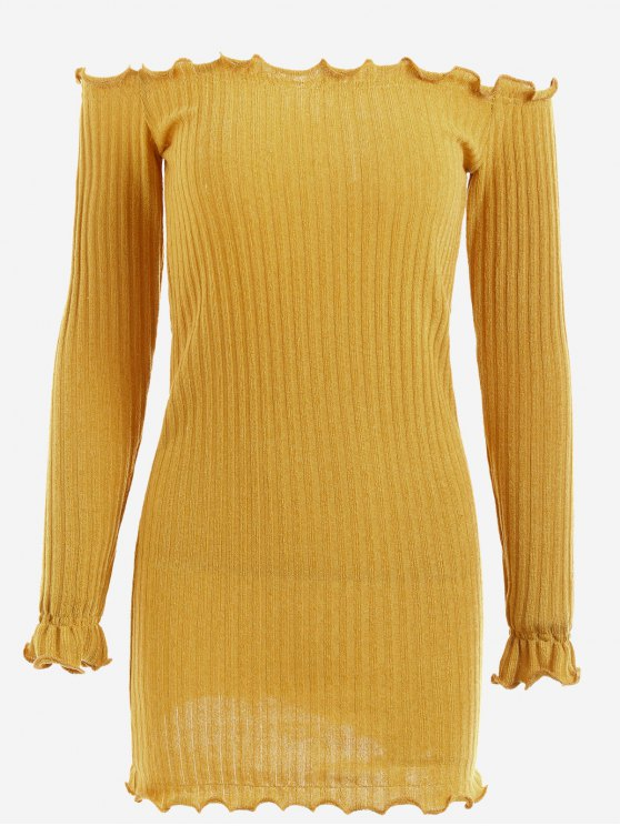 latest Off Shoulder Mini Knitted Bodycon Dress - GINGER M