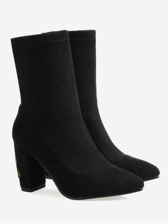 Chunky Heel Flower Embroidery Boots - Black