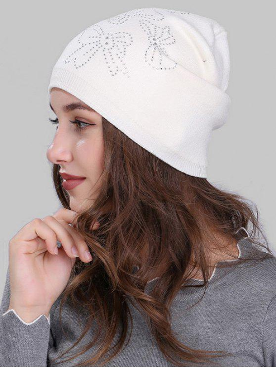lady Butterfly Shape Small Rhinestone Embellished Knit Beanie - WHITE