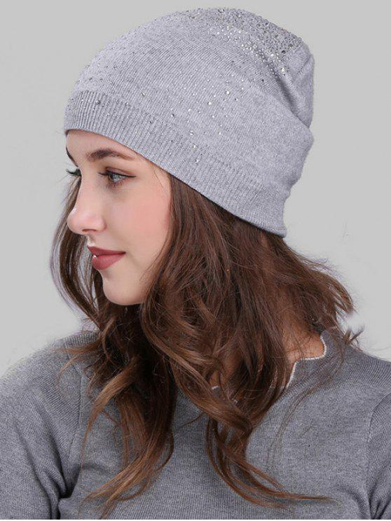 2019 Rhinestone Embellished Knitted Slouchy Beanie In LIGHT GREY  284cf0c7570