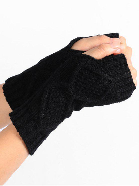 latest Rhombus Stripe Crochet Knitted Fingerless Gloves - BLACK