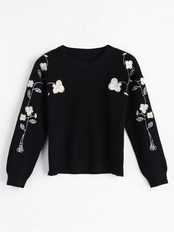 fashion Floral Embroidered Pullover Sweater - BLACK ONE SIZE